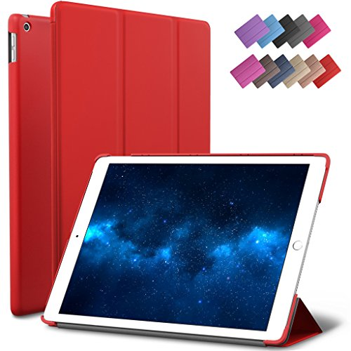 New iPad 9.7-inch 2018 2017 Case, ROARTZ Red Slim-Fit Smart Rubber Folio Case Hard Cover Light-Weight Wake Sleep for Apple iPad 5th 6th Generation Retina Model A1893 A1954 A1822 A1823 -  17A06