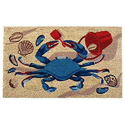 HF by LT Red Poppies 100% Coir Doormat, 18 x 30 inches, Naturally Durable, PVC-Backing, Sustainable