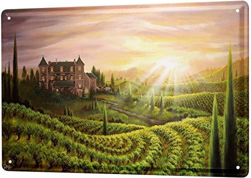 SECOFE Plants Estate Vineyards 20,3 x 30,4 cm, diseño vintage de metal con colores de colores para decoración de pared para cafetería, bar, restaurante y pub
