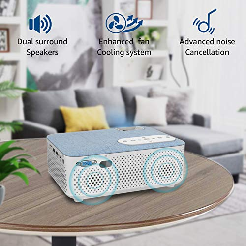 FANGOR Bluetooth Mini Projector 4500 Lumens, 1080P and 200'' Display Supported, 55000 Hours Compatible with HDMI/USB/Micro SD/VGA/TV Stick/AV/PS4/XBOX for Home Theater