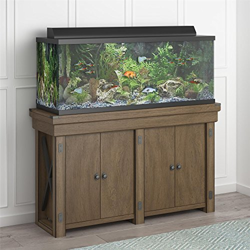 Flipper Ollie & Hutch Wildwood 55 Gallon, Rustic Gray Aquarium Stand
