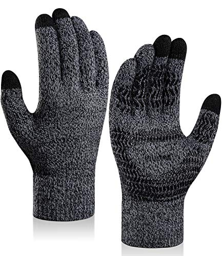 coskefy Winter Knit Gloves Touchscreen Gloves Thermal Wool Lined Texting Gloves Running Gloves for Men Women Teens (New Black White, Women)