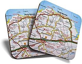Great Coaster - Posavasos (2 unidades, cuadrados, diseño de mapa del Reino Unido de Berwick y Escocia del Norte de Escocia, color negro