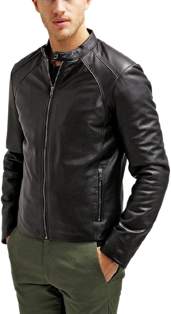 The Leather Factory Men's Maximus Black Genuine Lambskin Leather Biker Jacket