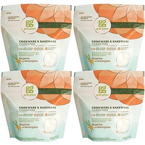 Grab Green Natural Cookware & Bakeware Cleaner Pods, Tangerine + Lemongrass