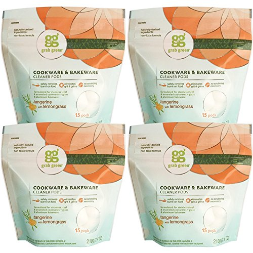 Grab Green Natural Cookware & Bakeware Cleaner Pods, Tangerine + Lemongrass—With Essential Oils, 15 pods (4-Pack), Plant & Mineral-Based Ingredients