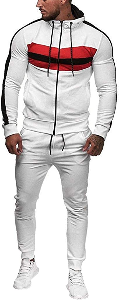 F_Gotal Men 2 Piece Tracksuit Set, Pleated Raglan Sleeve Full Zip Athletic Sweatsuit Outfit Jogger Running Sport Set