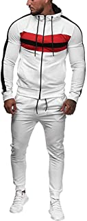 HEJANG Men's Tracksuit Patchwork Hooded Sportswear Sweatshirt Zippers Sweatpants 2 Piece Track Suits Jacket Pants Set