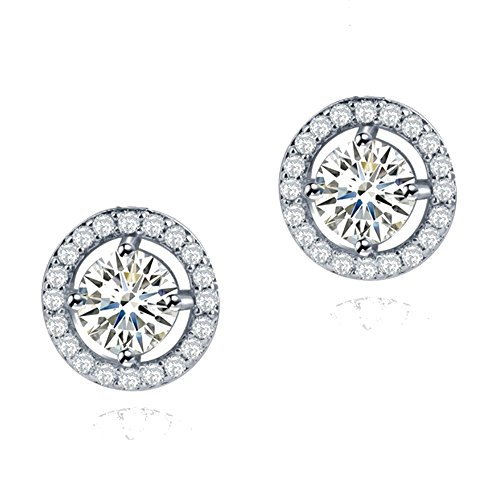 Redondo Pendientes con Blanco Cristales austríacos de Zirconia 18k Chapado en oro blanco para mujer y niña