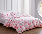 NexHome Duvet Cover and Pillowcase Pink Flower Leaf Printed, Twin Bedding Duvet Cover Set with Zipper and Pillow Sham - Corner Ties