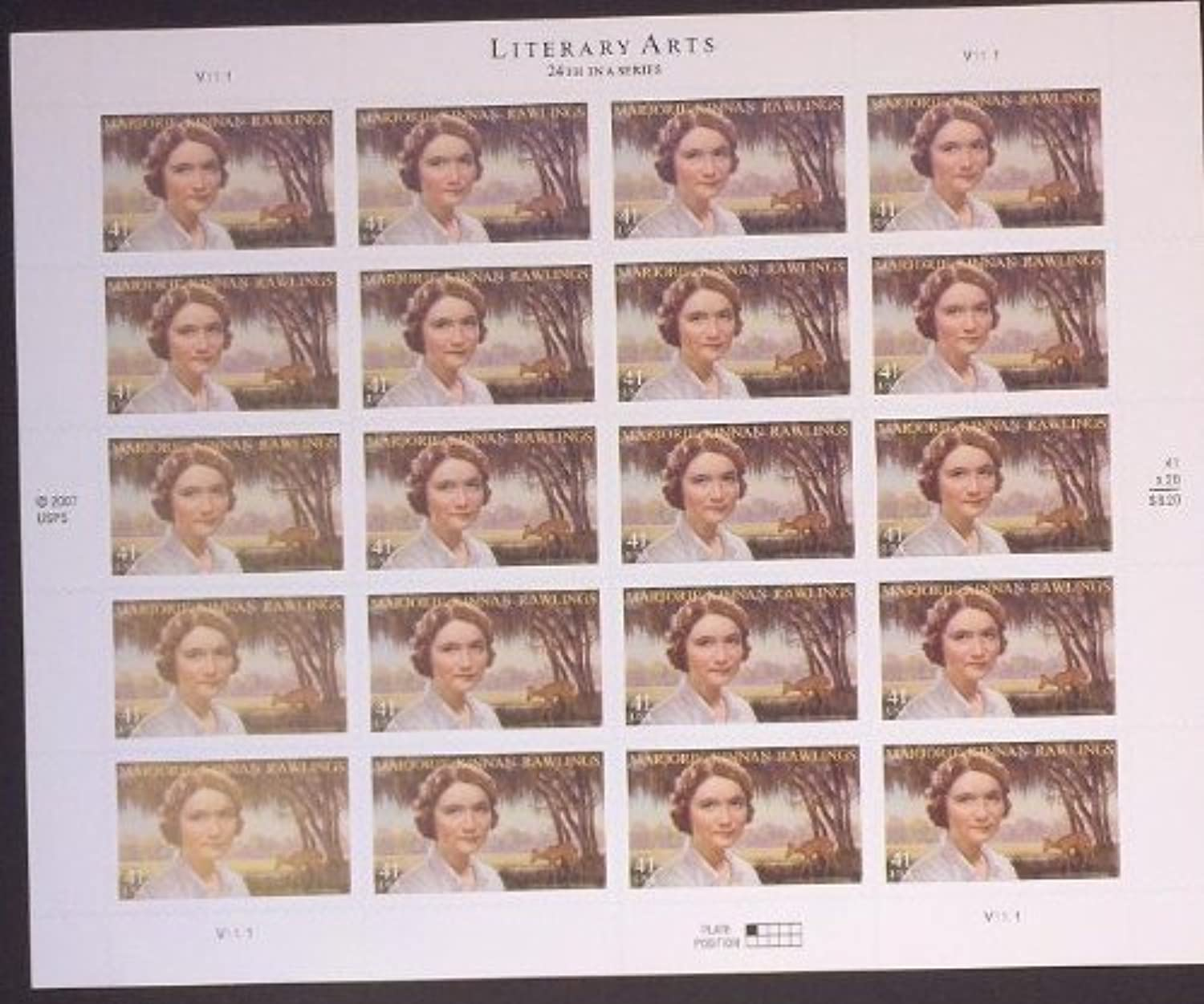 Literary Arts Marjory Rawlings Sheet of Twenty 41 Cent Stamps Scott 4223 by USPS