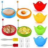 Silicone Egg Ring, Nonstick Egg Rings Pancake Molds for Frying, Egg Poacher Silicone Cups, Reusable Kitchen Cooking Tool for Fried Poached Eggs Cooker with Oil Brush for Kitchen Cooking