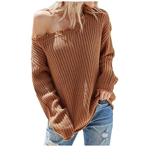 Shaohan Jersey de Navidad de punto para mujer, sin tirantes, de un solo color, manga larga, cuello redondo, camisa de otoño 2021 marrón 36