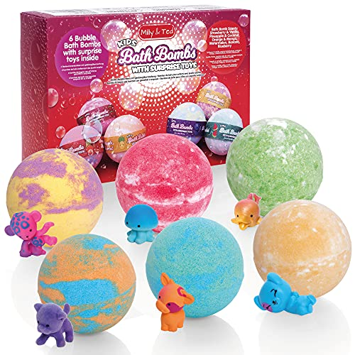 Milly & Ted Surprise Toy Bath Bombs For Kids - 100% Child Safe With Natural Oils & Moisturisers - Handmade Bath Fizzers With Fruit Scents - For Boys or Girls Aged 3 Years Old +