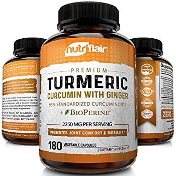 Turmeric Curcumin with Ginger & BioPerine Black Pepper Supplement    Anti-Inflammatory Antioxidant Anti Aging    100% Natural Non-GMO Vegan Best Maximum Potency No Side Effects  180 Capsules