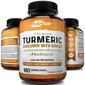 Turmeric Curcumin with Ginger & BioPerine Black Pepper Supplement: Anti-Inflammatory, Antioxidant, Anti Aging, 100% Natural, Non-GMO, Vegan Best Maximum Potency, No Side Effects (180 Capsules)