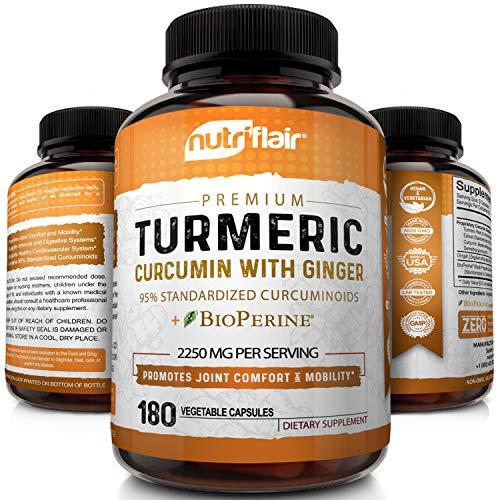 Turmeric Curcumin with Ginger & BioPerine Black Pepper Supplement :: Anti-Inflammatory, Antioxidant, Anti Aging :: 100% Natural, Non-GMO, Vegan Best Maximum Potency, No Side Effects (180 Capsules)