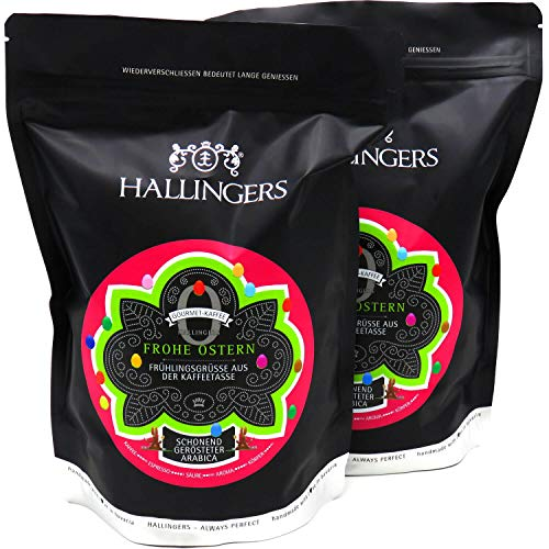 Hallingers Gourmet-Kaffee, schonend langzeit-geröstet (1.000g) - No. O Frohe Ostern, 2x 500g (Aromabeutel) - zu Ostern