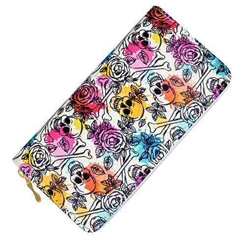 Punk Sugar Skull Wallet Womens Unisex RFID Blocking Leather Wallet Holder Clutch Case for Cards Smartphone (White)