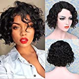 FAVE Bob Human Hair Wig for Black Women 8 inch Short Curly Bob Wigs Brazilian Virgin Human Hair Wigs Glueless None Lace Front Side Part Wig (Black)