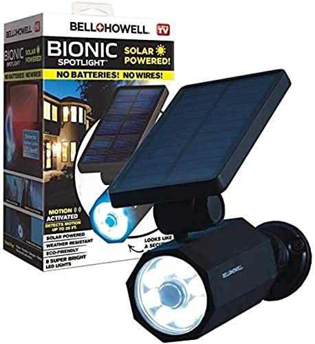 Bell+Howell Bionic Spotlight Deluxe LED Solar Lights Solar-Powered Spot Light with 25 Feet Motion Sensor Outdoor Waterproof Frost Resistant Yard Outdoor Lighting As Seen On TV