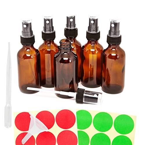 GreatforU 6 x 30 ml leer glas Amber Spray Flaschen nachfüllbar Container für ätherisches Öl Parfüm Flüssigkeiten W/gratis 3 ml dropper, Mini Trichter, 12 Stück Etiketten