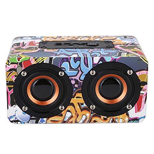 VBESTLIFE Holz Lautsprecher,Bluetooth Lautsprecher,Subwoofer Freisprecheinrichtung HiFi Music Stereo Lautsprecher(Graffiti)