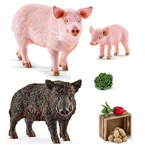 Schleich - 14783 Wildschwein + 13782 Schwein + 13783 Ferkel + 42289 Futter für Schweine und Ferkel
