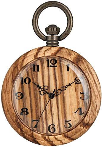 Atractivo Y Colorido Reloj De Cuarzo De Bambú para Mujer, Clásico Reloj De Bolsillo De Madera para Dama, Ligero Reloj Colgante De Bambú Analógico, Gran Luz Y Diseño Encantador Reloj De Bolsillo Natur