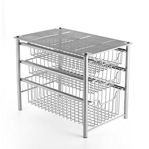 3S Under Cabinet Storage,Sliding Basket Organizer Drawer,Bathroom Kitchen Under Sink Organizer,Silver,3 Tier.