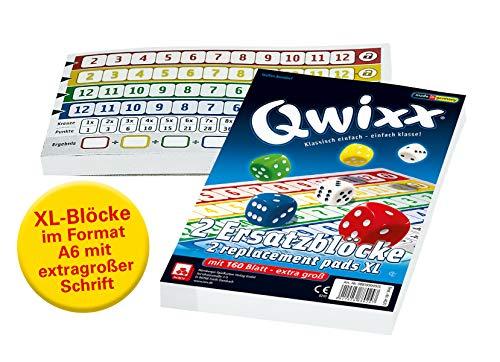 NSV - 4021 - QWIXX extra blokken, XL formaat, 2 stuks à 80 vellen - kubusspel