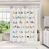 BASHOM BSC-608 ABC Learning Alphabet Stoff Duschvorhang Liner Kinder Wasserdicht waschbar Dekoratives Badezimmer mit 12 Haken 180x180cm Polyester Maschinenwaschbare Stände Badewannen
