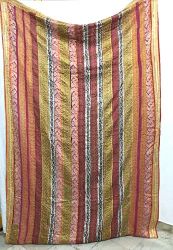 Fair Trade Patola Silk Patch Work Kantha Quilt, Kantha Blanket Bedspread, Patch Kantha Throw, King Kantha, Kantha Rallies Indian Sari Quilt Antique Quilt Decor (Pattern 15)