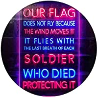 US Flag Flies with Soldiers Who Died Protect It Dual Color LED看板 ネオンプレート サイン 標識 青色 + 赤色 300 x 400mm st6s34-i3417-br