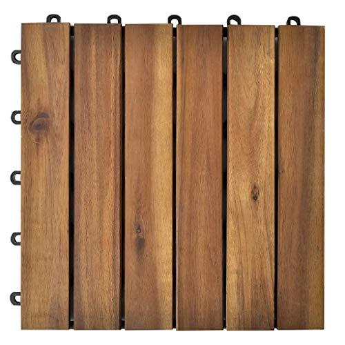 Ausla 10 Pz Piastrelle In Legno Di Acacia Per Pavimento Giardino Terrazza O Balcone 30 X 30 Cm Listelli Pavimentazione Acacia Design Verticale Deck Per Pavimentazione Di Esterni