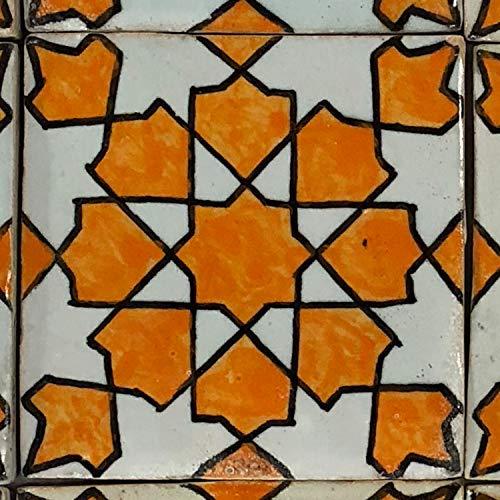 Casa Moro marokkanische Keramikfliese Elenora 10x10 cm orange weiss handbemalte orientalische Fliese Kunsthandwerk aus Marokko Wandfliese für schöne Küche Dusche Badezimmer   HBF8240