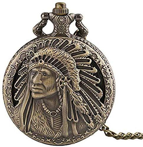 BEISUOSIBYW Co.,Ltd Collares Mujeres Hombres Reloj de Bolsillo Talla de Bronce Vintage Nativo Americano Anciano Retro patrón Colgante Recuerdo Reloj de Bolsillo de Cuarzo Collar de Cadena Regalos