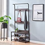 <span class='highlight'><span class='highlight'>Ansley&HosHo</span></span> Retro Hallway Coat Rack Stand for for Hat Clothes with Shoe Storage Shelf and Seat Bench Entryway Freestanding Clothes Stand Rack with 3 Shelves 4 Hooks Space-saving 170cm