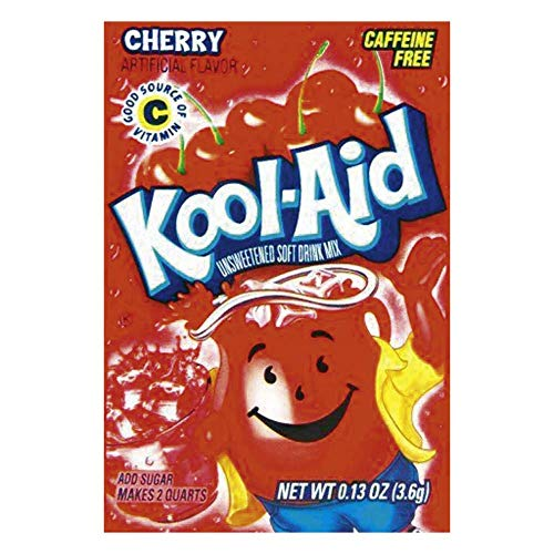 Kool-Aid Cherry Unsweetened Soft Drink Mix, 0.13-Ounce Envelopes(Pack of 48)