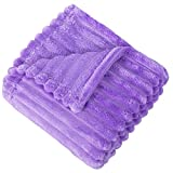 NTBAY Plush Soft Flannel Baby Blanket, Warm and Cozy Unisex Toddler Blanket with Stripe Pattern for Stroller, Crib, Travel, 30 x 40 Inches, Purple