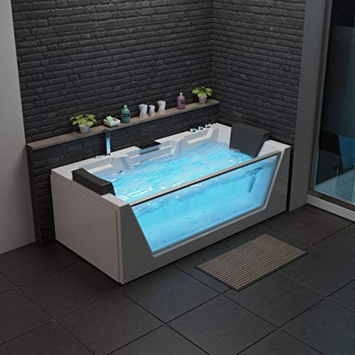 XXL Luxus SPA LED Whirlpool Glas Badewanne SET +Armaturen+Massage-Düsen +Heizung + Radio