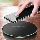 Chargeur sans Fil 10W Universel, Qi Charging Pad, Chargeur à Induction Compatible avec iPhone 13/12/11/11 Pro/XS/XS Max/XR/X/8/8 Plus, Samsung Galaxy S21/S20/S10/S9/S8/S7/S6 (Noir)