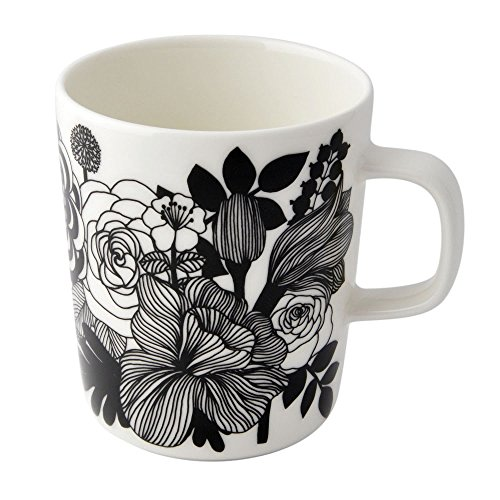 Marimekko - Oiva/Siirtolapuutarha - Tasse - Kaffeetasse - Weiß/Schwarz/Türkis - 2,5 dl - Ø8xH9,5cm