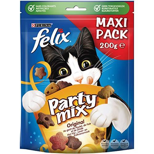 Felix Party MixOriginal Kattensnacks met Kip-, Lever- en Kalkoensmaak, doos van 5 (5 x 200g)