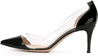 Women's 6.5cm Pointed Toe Transparent Pumps PVC Kitten Heel Dress Shoes