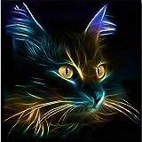 Cuadros para Pintar por Numeros Gato Luminoso DIY Adulto Pintura Digital al óleo Traje acrílico Sala de...