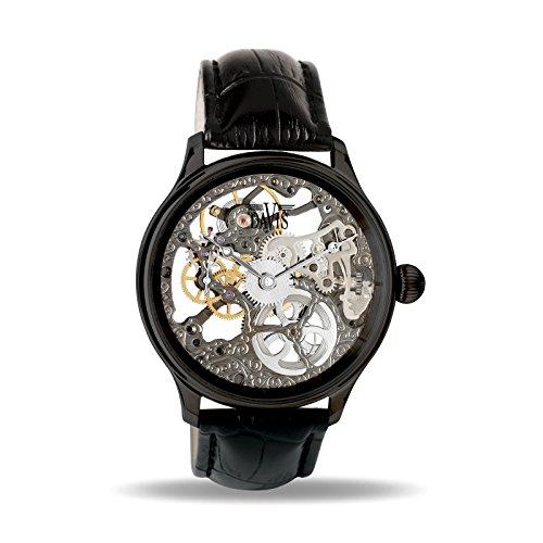 Davis – 0899 – Skeleton Mechanisch Herrenuhr mit sichtbarem Uhrwerk Schwarz – Armband aus schwarzem Leder