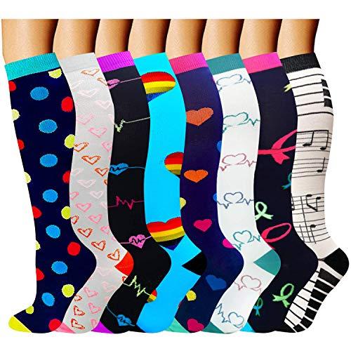 Calcetines de compresión para mujeres y hombres: los mejores calcetines médicos, para correr, enfermería, circulación y recuperación, senderismo, viajes y vuelo, 20-25 mmHg B1-multicolor-8 pairs S/M