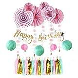 Sunbeauty 28 Piezas Cumpleaños Rosa Decoracion Fiesta, Linterna Menta Abanico de Papel Rosa Borla Dorado Guirnalda Pancartas Happy Birthday, Fiesta para Infantil Niña Cumpleanos Princesa