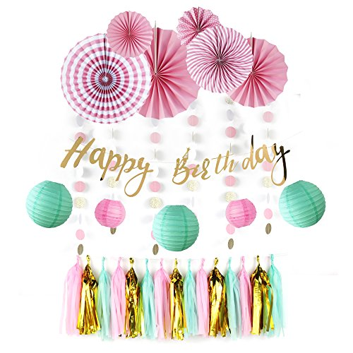 Girls Birthday Hanging Decoration Kit Paper Wheel Fans Gold Happy Birthday Banner Tassel Garlands with Circle Garlands, (Pink Gold Mint Green) SUNBEAUTY